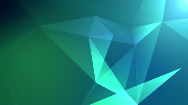 vídeos de stock e filmes b-roll de abstract geometric background seamless loop in green - modelação low poly