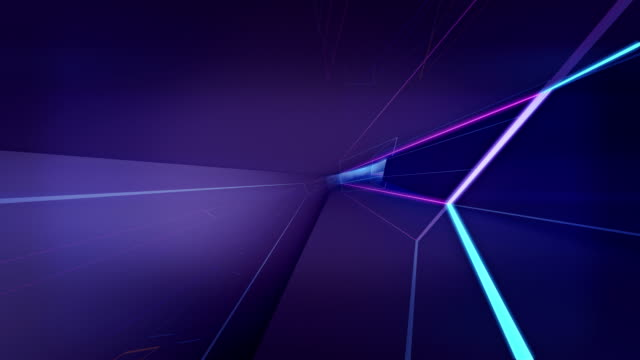 Abstract geometric background VJ Loop Glowing, glowing neon lines rotating inside tunnel, housing logo stock videos & royalty-free footage