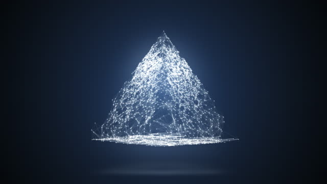 abstrakt geometrisk komposition från kaotiska långsam rörliga prickar och linjer placeras i pyramiden, som kastar en skugga 4k - pyramidform bildbanksvideor och videomaterial från bakom kulisserna
