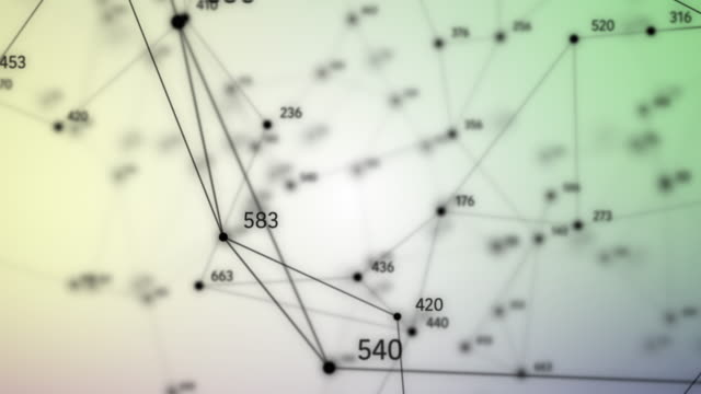 Abstract geometric composition with depth of field, lines, dotes and random numbers video