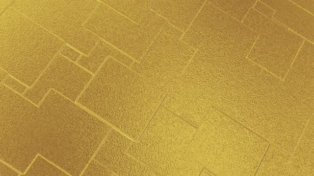 Abstract geometric golden backgroundfoil tiles texture seamless loop background 3D rendering