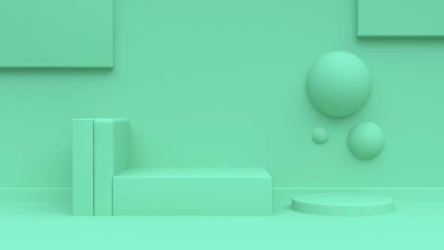 abstrakt geometrisk scen 3d-rendering rörelse grön bakgrund - digital animation bildbanksvideor och videomaterial från bakom kulisserna