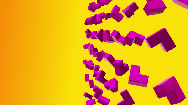 Abstract geometric shapes corners cubes rotate. Computer generated loop animation. Modern background, seamless motion design for poster