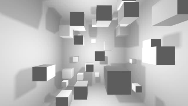 抽象的な幾何学的図形、背景のキューブを回転 - 立方体点の映像素材/bロール