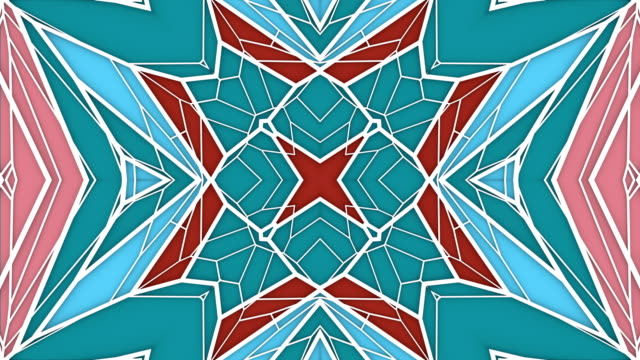 Abstract geometrical motion graphics background. Computer generated loop animation. Multicolored kaleidoscopic pattern. 3d rendering. 4k UHD