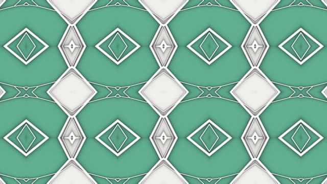 抽象幾何学的なモーショングラフィックスの背景。コンピュータで生成されたループアニメーション。緑の色の万華鏡パターン。3d レンダリング。4k uhd - 万華鏡模様点の映像素材/bロール