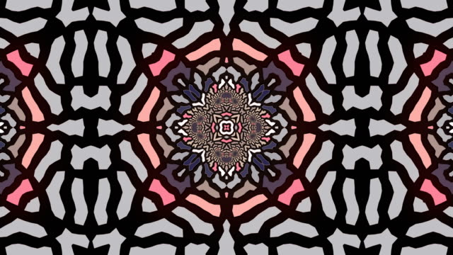Abstract geometrical motion graphics background. Computer generated animation. Pink colored kaleidoscopic pattern. 3d rendering. 4k UHD