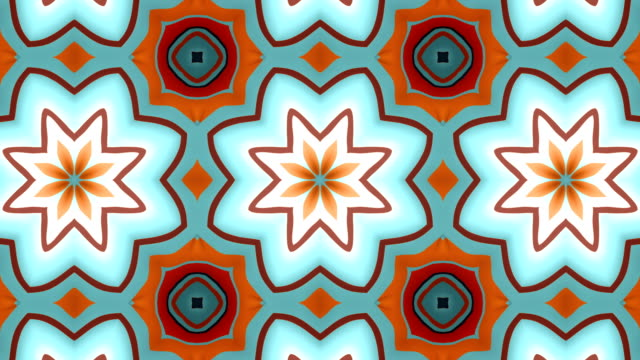 vídeos de stock e filmes b-roll de abstract geometrical motion graphics background. computer generated loop animation. multicolored kaleidoscopic pattern. 3d rendering. 4k, ultra hd resolution. - mosaicos flores