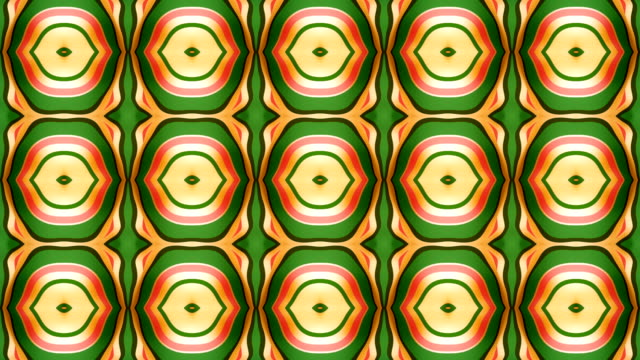 Abstract geometrical motion graphics background. Computer generated loop animation. Green colored kaleidoscopic pattern. 3d rendering. 4K, Ultra HD resolution.