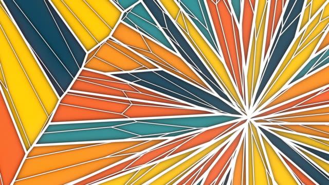 soyut geometrik hareket grafik arka plan. bilgisayar oluşturulan döngü animasyonu. çok renkli üçgen deseni. 3d rendering. hd çözünürlüğe sahiptir. - mozaik stok videoları ve detay görüntü çekimi