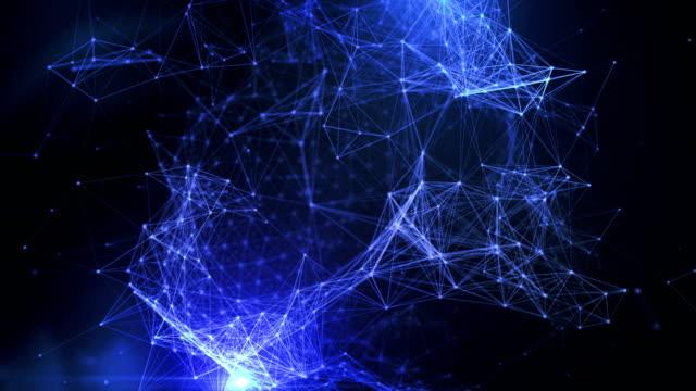 vídeos y material grabado en eventos de stock de esfera abstracta geométrica del plexo de 4k en fondo negro con puntos y líneas - plexo