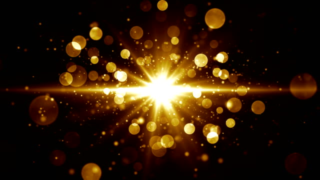 Abstract glamour background for greetings and celebration. Star burst at the center with golden shiny particles. Seamless loop.