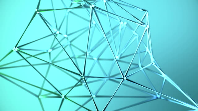 Abstract glass geometric network background Blue video