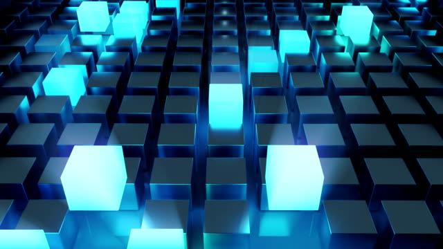 抽象的發光立方體藍色 - 描述 個影片檔及 b 捲影像