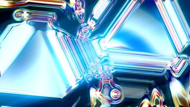 Abstract glowing kaleidoscope pattern. Refraction effect video