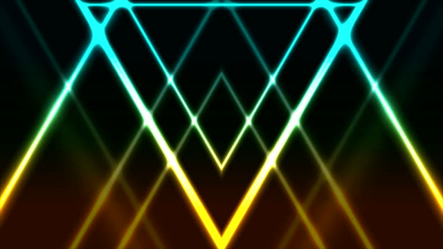 Abstract glowing neon colorful triangles video animation
