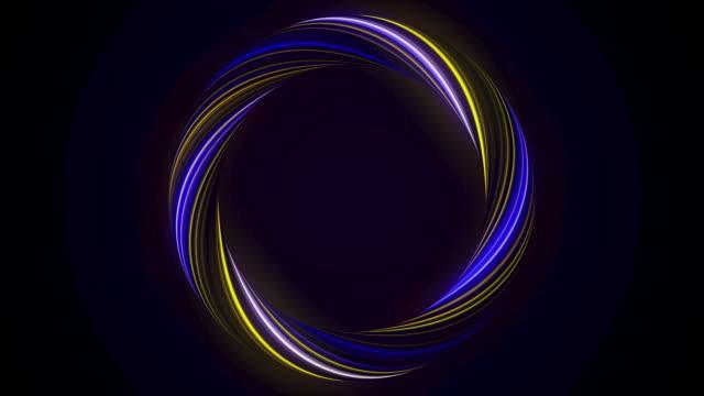 abstrakt glödande ring från vrida fiber med blinkande färger isolerade på svart bakgrund. animation. glänsande gul och blå färgad cirkel, sömlös slinga - blue yellow bildbanksvideor och videomaterial från bakom kulisserna