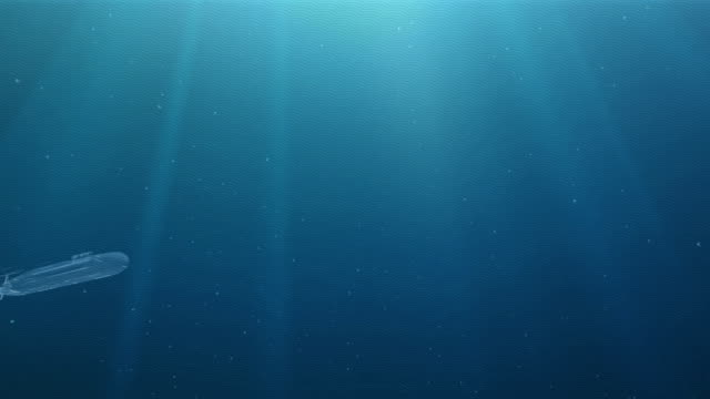 Abstract glowing submarine floats in a deep water
