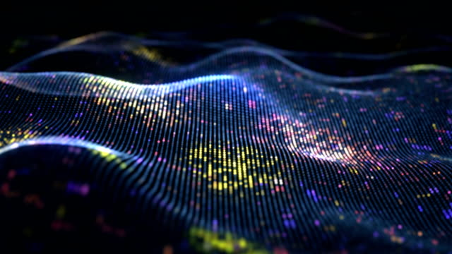 Abstract glowing virtual neural network. Futuristic coding or Artificial Intelligence concept. Seamless loop 3D animation rendered with DOF 4k video