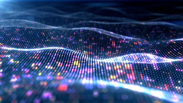 Video Abstract glowing virtual neural network. Futuristic coding or Artificial Intelligence concept. Seamless loop 3D animation rendered with DOF 4k
