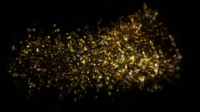 Abstract Gold Particles Background with sparks and glowing elements shining bright particle stars on black background video