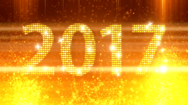 abstract golden 2017 new year loopable background - new year стоковые видео и кадры b-roll