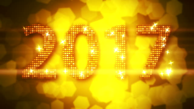 abstract golden 2017 new year loopable background with bokeh - new year стоковые видео и кадры b-roll