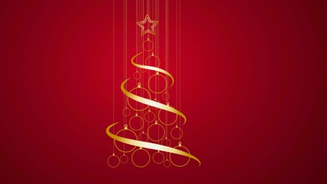 Abstract Golden Christmas Tree on red background. 2D animation. Clip footage 4k