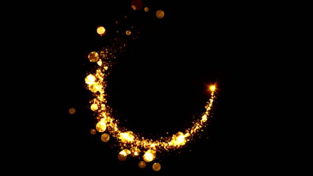 sfondo astratto della cometa dorata con coda e particelle glitter. schermata del vincitore. flare rotante. schermata conto alla rovescia per la cerimonia. loop senza soluzione di continuità. - dorato colore descrittivo video stock e b–roll