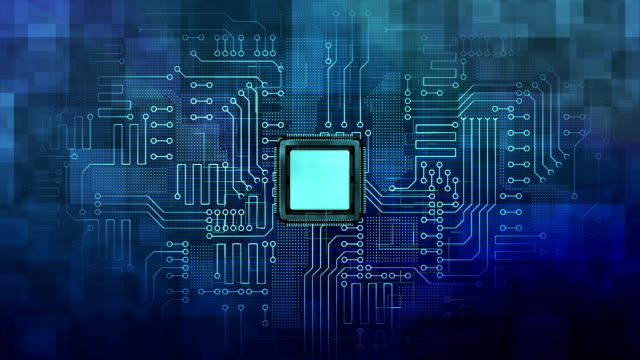 Abstract graphic Board Micro Chip Processor Boost Power on Circuit digital Background.