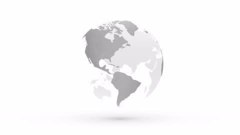 vídeos de stock e filmes b-roll de abstract gray globe planet earth - branco