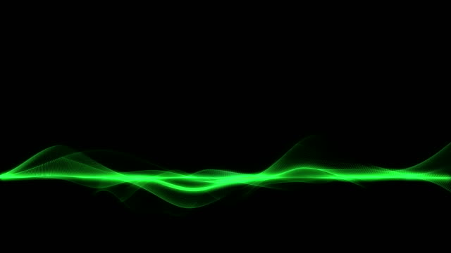 Abstract green energy waves on dark background, horizontal line wave video