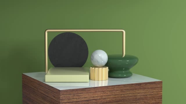 abstract green yellow white marble gold geometric shape on wood square shape green scene 3d rendering motion