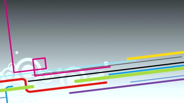 abstract grey background with colourful lines and circles loop - blue yellow band bildbanksvideor och videomaterial från bakom kulisserna