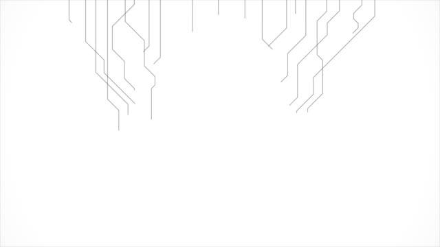 회색 개요 기술 회로 보드 라인 모션 디자인 - 배경 초점 스톡 비디오 및 b-롤 화면