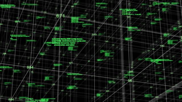接続とドットの抽象グリッド、未来的な技術コンセプト、グリッド空間への飛び込み ビデオ