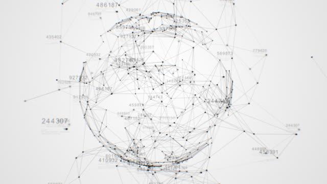 abstrakte gitterkugel, die sich im digitalen raum mit mehreren verbindungen und fließenden informationen dreht. schöne looped 3d animation. technologisches konzept. - flussdiagramm stock-videos und b-roll-filmmaterial