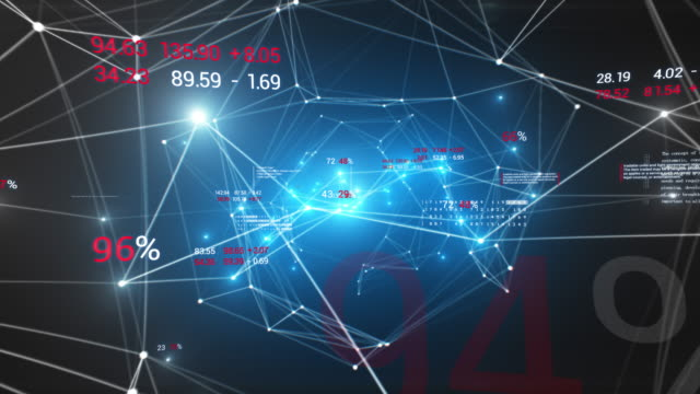 abstract growing blue network with economics style digits and text seamless. looped 3d animation of bright network in cyberspace with flashing lights. business concept. - ricevere video stock e b–roll