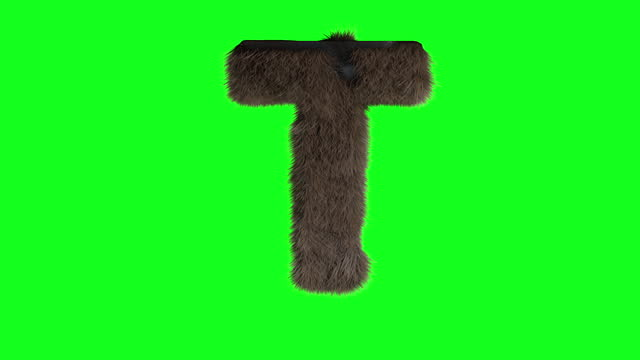 Abstract hairy letter T sign fluffy furry alphabet green screen chroma key animation 3d