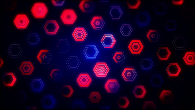 vídeos de stock e filmes b-roll de abstract hexagon background (loopable) - vr red background