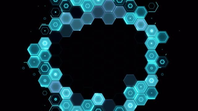 abstract hexagon pattern radial movement - blue - esagono video stock e b–roll