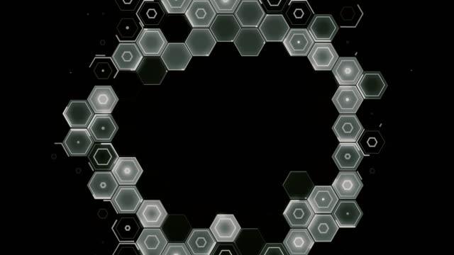 abstract hexagon pattern radial movement - monochrome - esagono video stock e b–roll