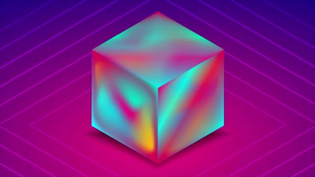 abstrakte holographische flüssige 3d-würfel auf lila hintergrund. technik-video-animation - holografisch stock-videos und b-roll-filmmaterial