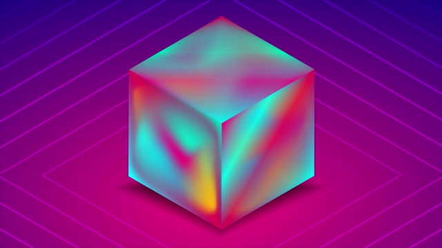 abstract holographic liquid 3d cube on blue purple background. technology video animation - голографический стоковые видео и кадры b-roll