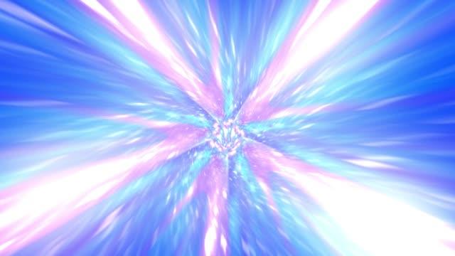 抽象的なハイパースピードは、宇宙旅行、アウト宇宙旅行にジャンプします。ワーム穴 3d レンダリング - 空白点の映像素材/bロール