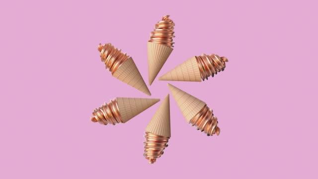dondurma hareket kavramı koni pembe sahne tatlı yiyecek - ice cream stok videoları ve detay görüntü çekimi