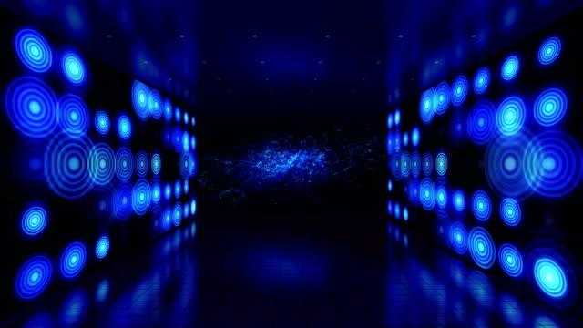 Abstract illumination stage. LED lights walls video