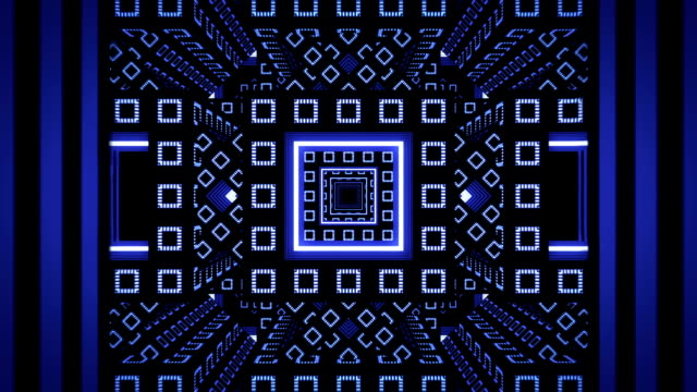 Abstract infinite blue tunnel from fractal cubes video
