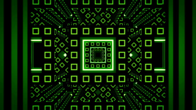 Abstract infinite green tunnel from fractal cubes video