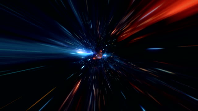 abstract jump in space in hyperspace among stars and flying in the wormhole - space video stock e b–roll